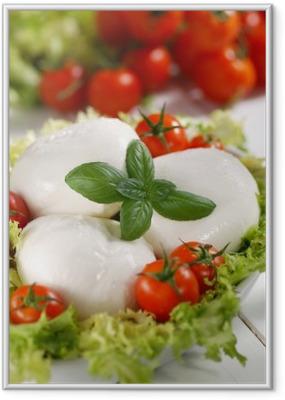 mozzarella di bufala italiana con pomodorini di pachino Framed Poster