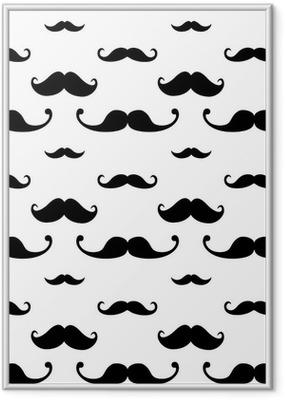 Innrammet plakat Hipster Mustache Seamless Pattern