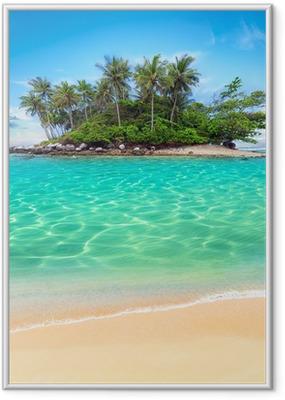 Poster i Ram Tropisk ö och sandstrand exotisk resa bakgrund