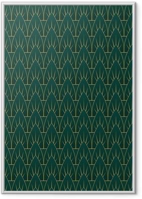 Gerahmtes Poster Art-Deco-Blatt-Muster