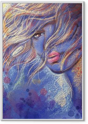 Plakát v rámu Krásná žena. akvarel ilustrace
