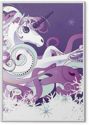 Póster com Moldura White unicorn