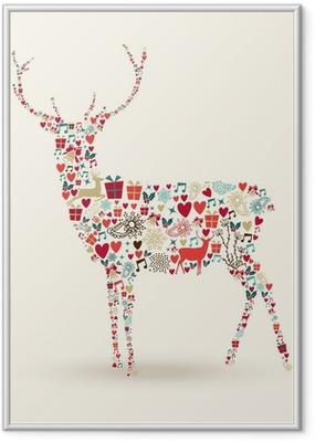 Poster en cadre Composition de renne de Noël - Fêtes