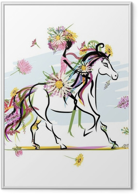 Floral girl on white horse for your design Framed Poster