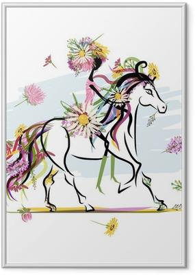 Poster en cadre Fille floral sur le cheval blanc pour votre conception - Sticker mural