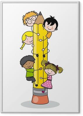 Poster en cadre Enfants grimpant un crayon
