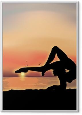 Poster i Ram Gymnast utövar nära havet