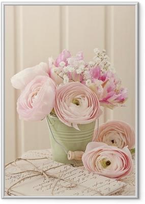 Ingelijste Poster Roze bloemen