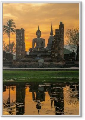 Póster com Moldura Buddha statue in Wat Mahathat temple, Sukhothai Historical Park,