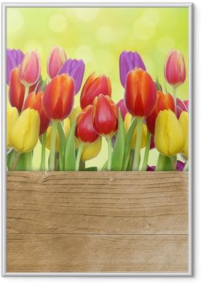 Tulpen mit Holztafel Indrammet plakat