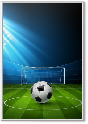 Football arena with a soccer ball. Vector Framed Poster