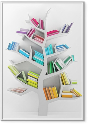 Tree of Knowledge, White Shelf with Multicolor Books Isolated Framed Poster