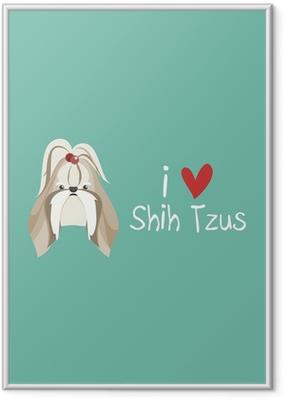 Ingelijste Poster Ik houd van Shih Tzu