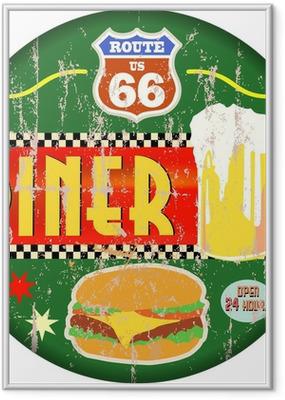 Gerahmtes Poster Retro amerikanische Route 66 Diner Zeichen, Vektor-EPS