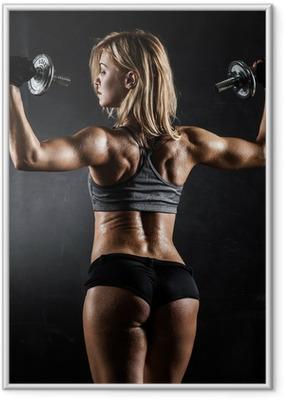 Ingelijste Poster Fitness met halters