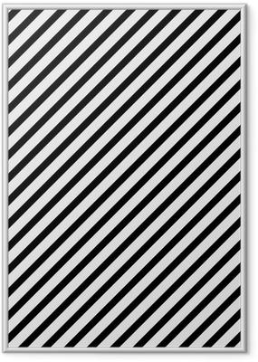 Poster i Ram Svartvitt Diagonal randig Mönster bakgrund