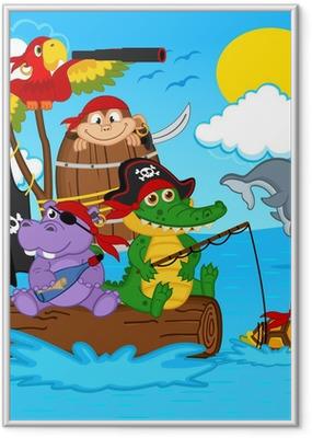Ingelijste Poster Dieren piraten - vector illustratie, eps