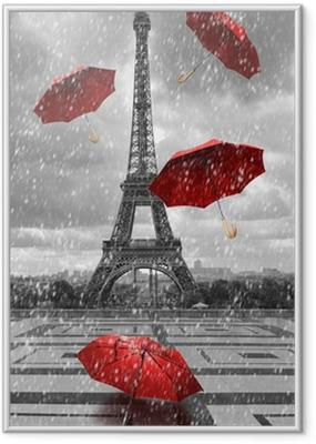 Poster en cadre Tour Eiffel avec des parapluies volants. -
