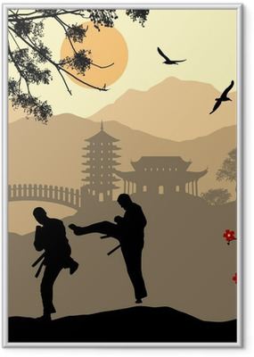 Gerahmtes Poster Karate in der asiatischen Landschaft