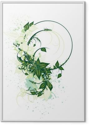 Ingelijste Poster Decoratieve floral design op een witte achtergrond
