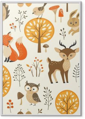 Poster i Ram Höstskog seamless med söta djur