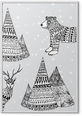 bear, deer and mountain hand drawn winter pattern Framed Poster