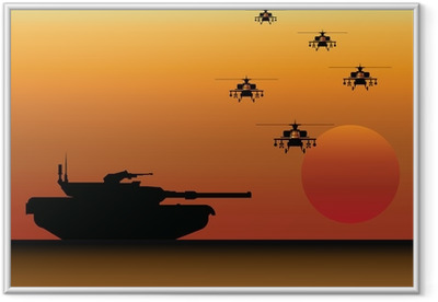 Military Tank and Helicopters Framed Poster