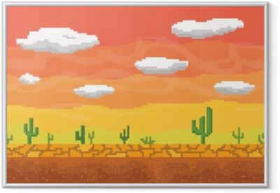 Gerahmtes Poster Pixel art wüste nahtlose hintergrund.