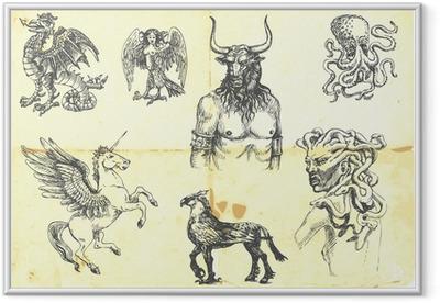 Gerahmtes Poster Mystischen Kreaturen. Nach antiken griechischen Mythen.