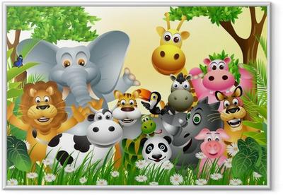 Poster i Ram Rolig djur tecknad med tropisk skog bakgrund