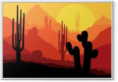 Gerahmtes Poster Kakteen in Mexico Wüste Sonnenuntergang Vektor