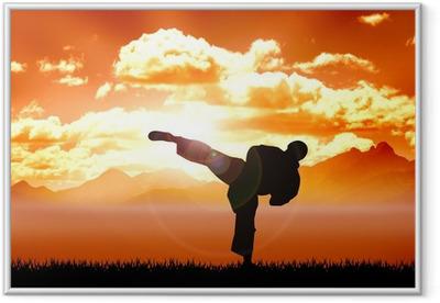 Gerahmtes Poster Abbildungbeschreibung von Karate Training