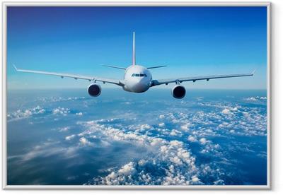 Ingelijste Poster Passagiersvliegtuig in de lucht