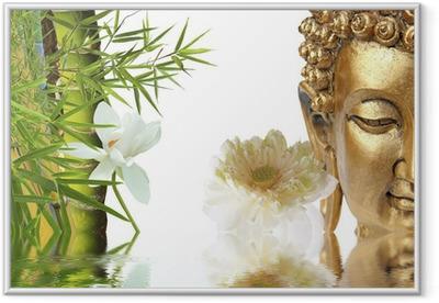 Gerahmtes Poster Bouddha doré, Lotus et bambou asiatique
