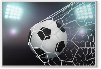 Ingelijste Poster Vector voetbal in het doel net op het stadion met licht