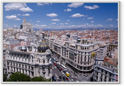 View of the Gran Via of Madrid (Spain) Framed Poster
