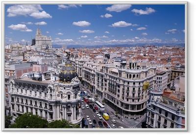 Poster en cadre Vue de la Gran Via de Madrid (Espagne)