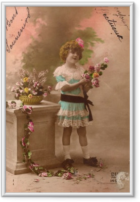 Çerçeveli Poster Fransız antika vintage postcard küçük kız.