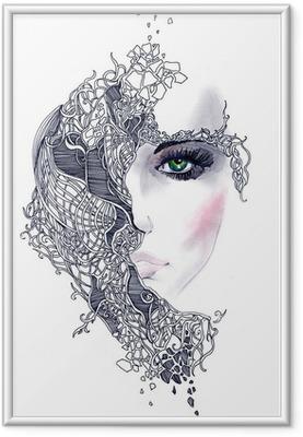 Ingelijste Poster Abstracte vrouw gezicht
