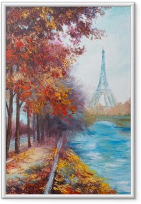 Gerahmtes Poster Ölgemälde von Eiffelturm, Frankreich, Herbstlandschaft