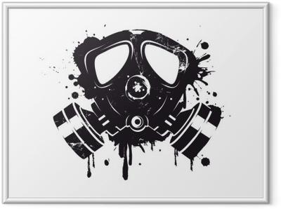Ingelijste Poster Gasmaske Graffiti