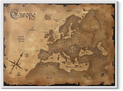 Gerahmtes Poster Weinlese-Europa-Karte horizontal