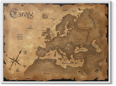 Poster i Ram Vintage Europa karta horisontal