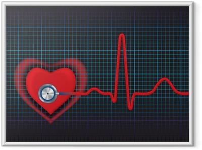 Gerahmtes Poster Herz-Symbol und Stethoskop mit normalem EKG Linie