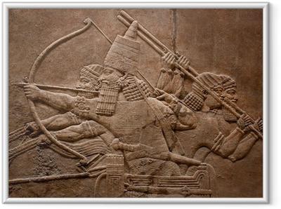 Gerahmtes Poster Alte Relief assyrian Krieger kämpfen im Krieg