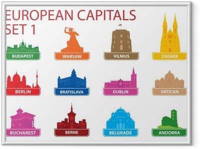 Gerahmtes Poster Europäische Hauptstadt Symbolen