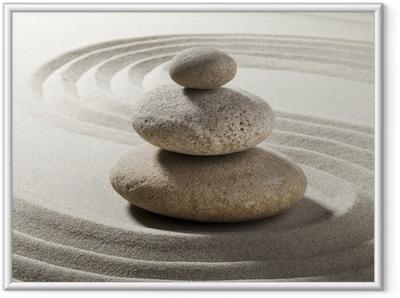 Póster com Moldura jardin zen avec sable et galets