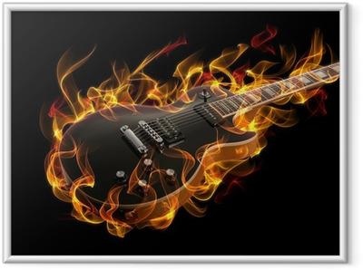Poster i Ram Elgitarr i brand och lågor