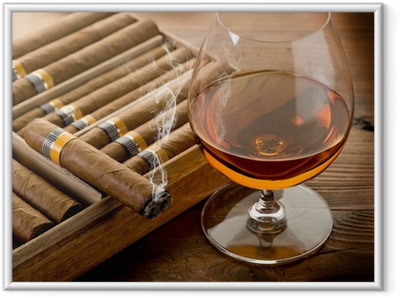 cuban cigar and cognac on wood background Framed Poster