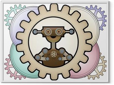 Poster en cadre Robot de Steampunk l'intérieur engrenages colorés détenant engrenages